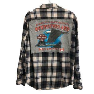 "Custom ""Harley Davidson of Newfoundland"" flannel."